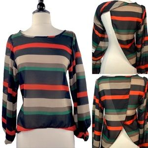 NBW Coco love sheer striped top with slit back